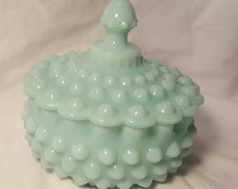 SOLD!!!! EXTREMELY Rare Fenton Green Pastel Milk Glass Hobnail Covered Candy Dish SOLD!!!!