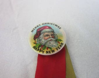 Antique Celluloid Santa Claus Merry Christmas Happy New Year Pinback & Ribbon