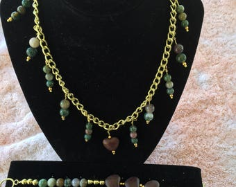 "25"" Gold Tone Necklace with Blood Agate Stone Beads with Matching Bracelet"