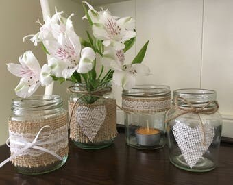Handmade Burlap Jars