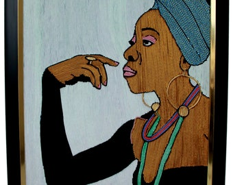 24 x 29 inch Handmade Thread Art image of Lady Green(Hand embroidery)