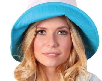 Women's Anti-UV Fashion Sun Hat Wide Brim Summer Beach Cotton Sun Bucket Hat