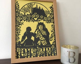 Beauty and the Beast Papercut Unframed Wedding Gift