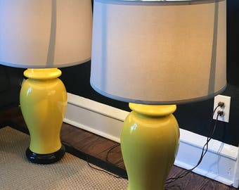 Pair Hollywood Regency Ginger Jar Lamps