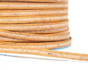 Rusty yellow cork strip, vegan strip, portuguese cork strip, flat strip, flat cork cord, sold by meter