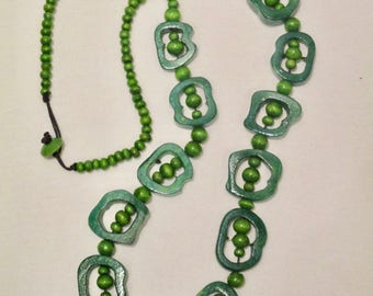 Green Wood Statement Necklace