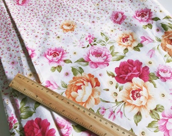 Pink Floral Double Border - 100% cotton fabric - extra wide width