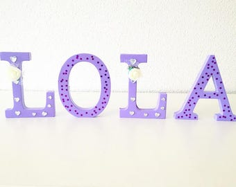 Lilac, Diamanté and White Rose Free Standing Letters