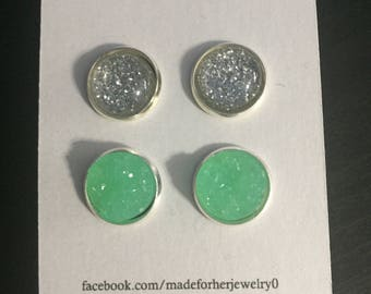 12mm silver star dust and mint green combo