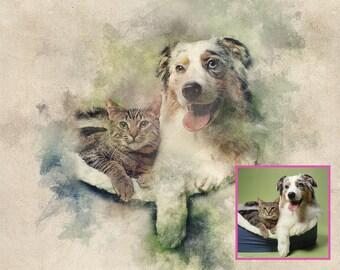 Custom pet portrait, dog portraits, pet portraits from photos, dog painting, cat portrait, paintings of dogs, horse portraits, pet art