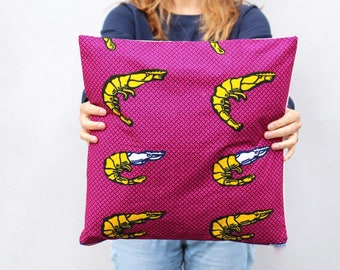 """Tempura"" Cushion cover 40 x 40 - wax pink and yellow"