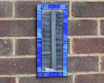 Handmade Custom Small Sea Blue Stained Glass Mirror