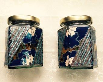 Glass jars blue set