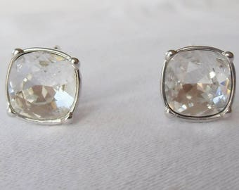 Vintage Swaroski Large Crystal Silver Tone Clip On Earrings - New Old Stock Marked