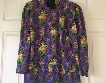 Vintage purple silk floral printed blouse size 8
