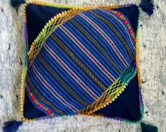 "Tassel corner Pillowcase 18"" x 18"" Festive Floral and Stripes pompom"
