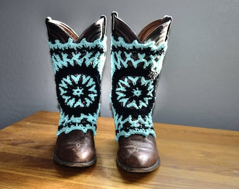 Turquoise and Black Cowboy Boot Covers