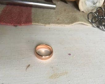 Handmade Simple Wedding Band 18K Rose Gold Size 8 3/4
