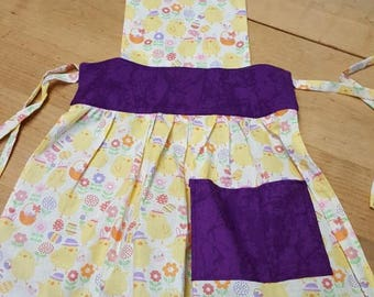Easter Chicks and flowers apron x small