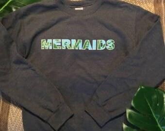 mermaids tropical print comfortable crewneck sweat shirt FREE SHIPPING