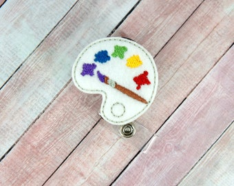 Paint Palette Badge Reel - Paint Palette - Feltie Badge Reel- Retractable ID Badge Holder - Badge Pull.