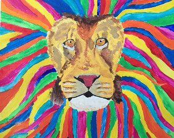Rainbow Mane Acrylic Lion