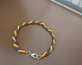 Orange & Black Spiral rope Bracelet