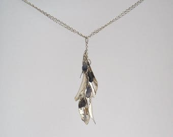 Silver leaves and Iolite cluster pendant