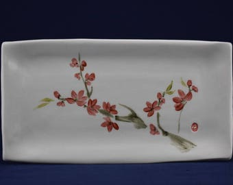 Sumi-e Porcelain. Japanese red plum tree.