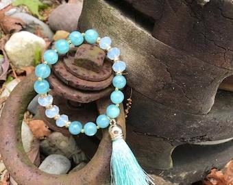 Light Blue Tassel Bracelet