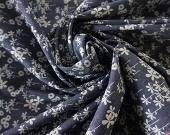 Forget-Me-Not 4oz Printed Indigo Denim Fabric