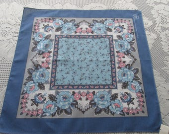 Vintage Blue~Pink~Gray Blue Roses Floral Handkerchief~Bandana