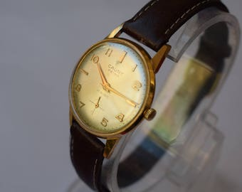 Cauny prima de luxe vintage, 29 mm, female, new leather strap, works well.