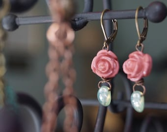 Boho-Victorian Style Rose Drop Earrings