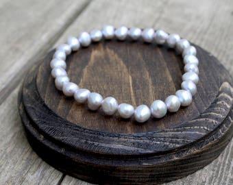 Silver Freshwater Cultured Pearl Bracelet