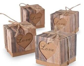 Wedding Favor Imitation Bark Gift Box Candy Boxes Love Rustic Kraft Bonbonniere With Burlap Jute Shabby Chic Vintage Twine