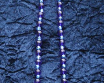 Lanyard darker multi toned blue glass beadss