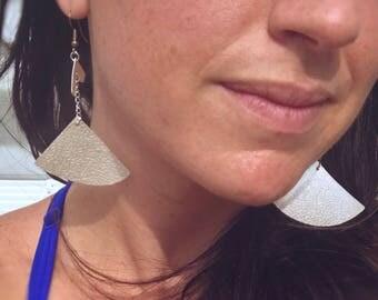 Silver Fan Drop Earrings