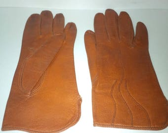 Vintage - brown leather gloves size 6 1/4 - made in France