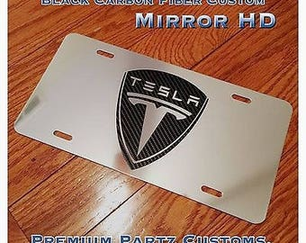 Tesla Logo License Plate New Mirror Chrome Carbon Fiber Design Aluminum