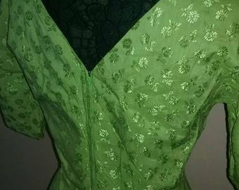 Vintage 1960s green dress, silky thin material.
