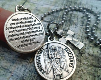Archangel St. Michael Necklace, Strength, Protection For Boys, Men, Teens, Dad Gift, Catholic Jewelry, All Sizes Small to Extra Large