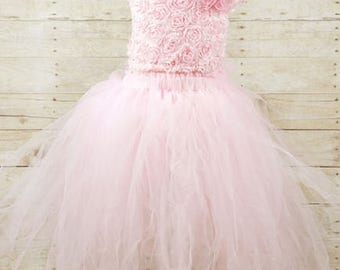 Baby Pink Tutu Skirt with floral lace top
