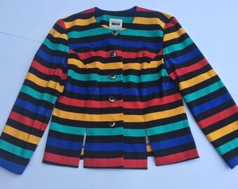 Vintage 80s Leslie Fay multicolored blazer. Size 8
