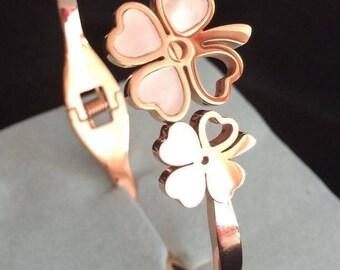 Four leaf clover bracelet stainless steel