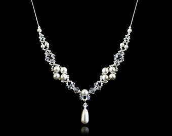 Swarovski crystals and pearls necklace. Free UK delivery.