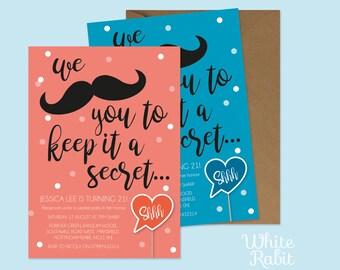 Shhhhh it's a Secret Party Invitation with envelopes