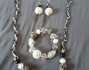 Handmade White and Black 4 strand braided necklace set