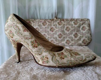 1950s tapestry heels, embroidered, qualicraft, tapestry heels, floral pumps, brocade, clutch, purse, matching set