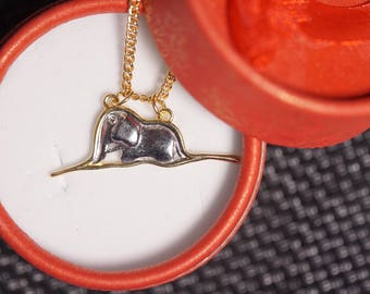 Le Petit Prince Hand-Made Silver Authentic Little Prince Elephant In Boa Constrictor Necklace